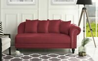 Rose Red Classic Velvet Fabric Living Room Chaise Lounge, Nailhead Trim, Pillows
