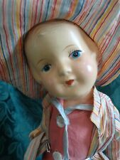 "Arrannbee Composition Doll Jointed 12"" Sunsuit Hat Shoes Jacket w/ stand"