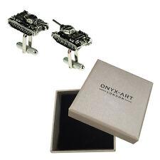 Mens Silver Army Tank Machinery Cufflinks & Gift Box By Onyx Art