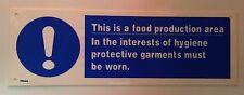 Questa è una zona di produzione alimentare segno RISTORAZIONE 300x100mm plastica rigida di Sicurezza fai da te