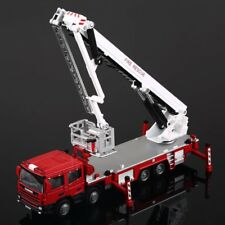 Diecast Truck Model 1:50 Red Aerial Ladder Rescue Truck Fire Vehicle