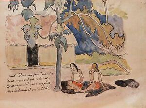 Paul GAUGUIN Verlaine gravure fac-similé aquarelle Tahiti SORDAM Tahitiennes art