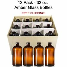 12 PACK - 32 oz Boston Round Air Tight Seal Amber Glass Growler Kombucha Bottles