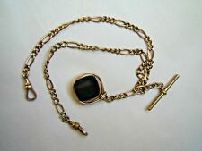 & Swivel Gemstone Fob Charm C.1900 Antique Rolled Rose Gold Double Watch Chain