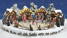 XL Beleuchtete Weihnachtsszene Winterszene Eislaufbahn See Spieluhr Santa Licht
