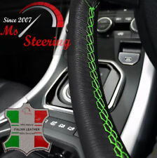 FOR INFINITI QX 04-12 BLACK LEATHER STEERING WHEEL COVER, GREEN STIT