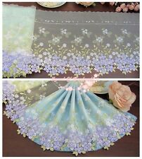"9""*1Y Embroidered Tulle Lace Trim~Light Aqua+White+Purple+Green~Smiling Beauty~"