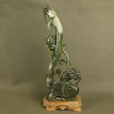 "8.8""LARGER WITH CARVED OLD CHINESE ANTIQUE JADE DRAGON PHOENIX STATUE"