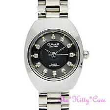 Luxury Designer Swiss OMAX, Seiko Movt Silver & Black Crystal Dress Watch WP3900