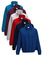 Plain BLUE GREY PURPLE BURGUNDY Zip Neck Sweatshirt Sweat Jumper with Collar