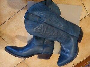 bottes SANCHO boots cuir bleu pointure 36 femme santiag country proche neuves TB