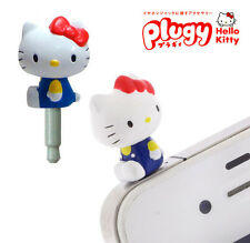 Sanrio Plugy Pink Hello Kitty in blue pants Cellphone earphone anti dust plug