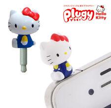 Sanrio Plugy Pink Hello Kitty in blue pants Cellphone earphone anti dust plug