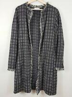 [ ZARA ] Womens Long Boucle / Tweed Jacket | Size S or AU 10 / US 6