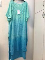 NWT FREE PEOPLE Womens Scoop Neck Short Sleeve Eyelet Tunic Dress Blue OB978824