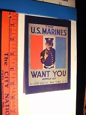 US Marines Active Service On land and sea Enlist Postcard New York Flag 23rd st