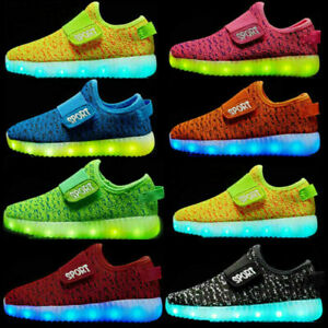 UK HOT Kids Boys Girls Light Up Shoes LED Flashing Trainers Casual Sneakers