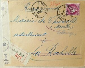 FRANCE 1941 COVER TO THIONVILLE WITH DIEDENHOFEN ARRIVAL & GERMAN CENSOR