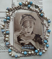 VINTAGE ART DECO STYLE HUBBELL BEADS FLAPPER NECKLACE SIGNED CZECH GATSBY GIFT