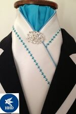 HHD WHITE SATIN SHOW STOCK TIE Aqua Blue EMBROIDERY Stock Pin Included