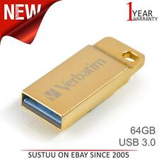 Verbatim Metal Executive 64GB USB 3.0 Flash Stick │ Pen Memory Drive - Gold