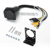 4-Way Flat to 7 Way Round RV Blade Wiring Adapter Trailer Hitch Plug w/ Bracket