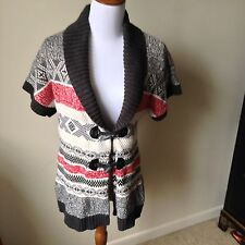 L@@K WOMENS LARGE TOMMY HILFIGER MULTI COLORED NORDIC CARDIGAN SWEATER USED