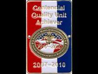 BOY SCOUT CENTENNIAL QUALITY UNIT ACHIEVER HIKING STAFF STICK SHIELD MEDALLION