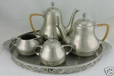 VINTAGE DUTCH PEWTER TEA/COFFEE SET JEKA TIEL HOLLAND,POTS,TRAY,CREAMER,BOWL