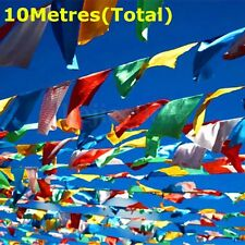 10 Metres long String of Silk Printed Tibetan Buddhist Prayer Flags religious