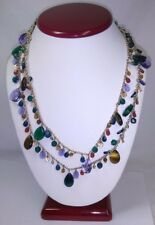 Multi-Color Mixed Media Two-Layer Double Strand Necklace - Glass, Gemstones