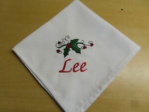 PERSONALISED CHRISTMAS HOLLY NAPKINS -  MATERIAL