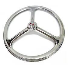 """Chrome Tri Bar w Gem Skull 7"""" Headlight Ring Cover for Harley Head Light Lamp"""