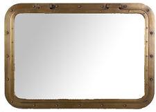"34"" x 24"" Rectangular Antique Brass Finish Wall Mount Porthole Mirror Nautical"