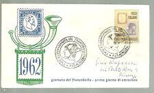 ITALIA BUSTA PRIMO GIORNO 1962 GIORNATA FRANCOBOLLO ANNULLO SPECIALE ROMA   FDC