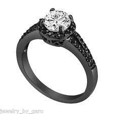 1.09 CARAT WHITE AND ENHANCED BLACK DIAMOND ENGAGEMENT RING 14K BLACK GOLD
