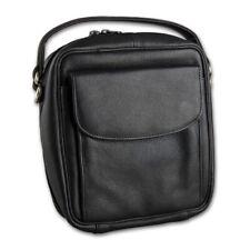 Pfeifentasche 8er Leder schwarz mit Vortasche/Schulterriemen 20x8x23cm