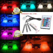 4in1 9LED Remote Control Colorful RGB Car Interior Floor Decoration Lights Strip