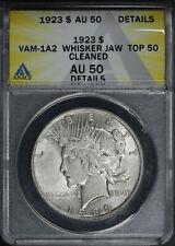 1923 Top 50 VAM-1A2 Whisker Jaw, Die Break II Peace Dollar ANACS AU-50 Details