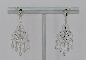 "14k White Gold 1 1/2"" Openwork Chandelier Dangle Earrings - 2.72 Grams"