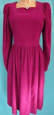 Vintage Laura Ashley Tea Dress Needlecord Pink Prairie Edwardian WW2