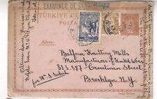 1941 Stambol Turkey Uprated Postal Card WWII Censored to Brooklyn NY