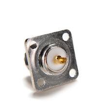 Silver Connector SO239 UHF female jack 4-hole 25mm flange solder panel mountevs