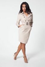 Beige Khaki Double Breasted Knee Length Dress in Small Medium UK sizes 4 6 8 10