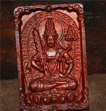 genuine india zitan red sandalwood necklace pendant amulet ruby buddha kwan yin