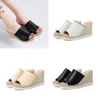 New Womens Ladies Wedge Heels Mule Sandals Pumps Peep Toe Platform Casual Shoes