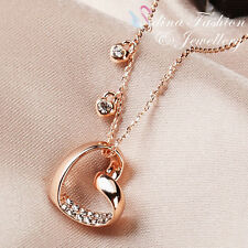 18K Rose Gold Plated Simulated Diamond Exquisite Heart Necklace Jewellery