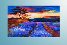 Handmade Abstract Art Oil Painting Wall Deco Canvas,lavender field(No Frame)