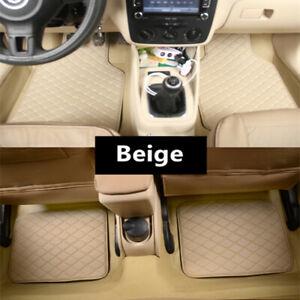 4Pcs Car Beige PU Leather Floor Mats 5-seat Auto Liner Front Rear Carpet Mat Set