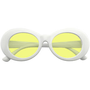 SUNGLASSES Retro Womens Mens Round Oversized Oval Color Tone White Sunglasses